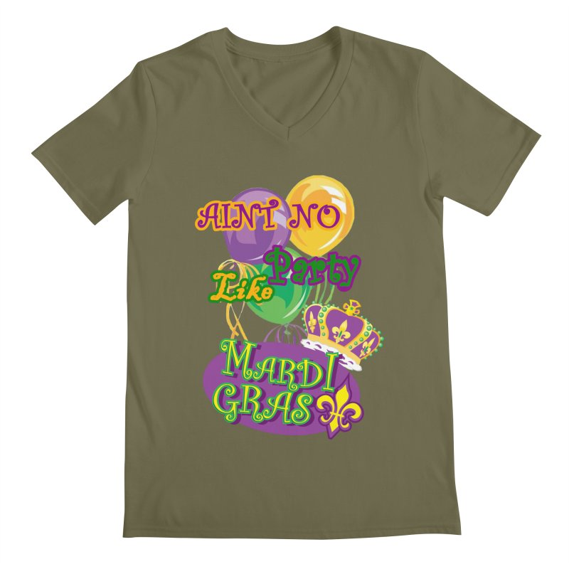 Ain't No Party Like Mardi Gras Men's T-shirts Men's Regular V-Neck by Paranormal Gumbo
