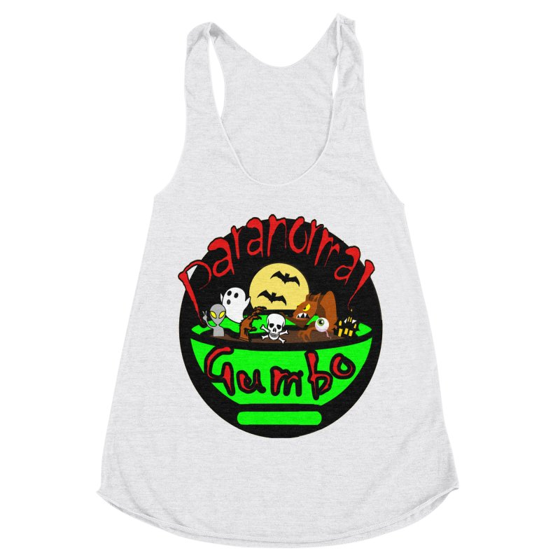 Paranormal Gumbo Original Logo Products Women's Racerback Triblend Tank by Paranormal Gumbo