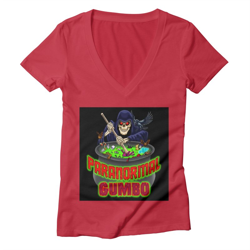 Paranormal Gumbo Grim Reaper Logo Products Women's Deep V-Neck V-Neck by Paranormal Gumbo