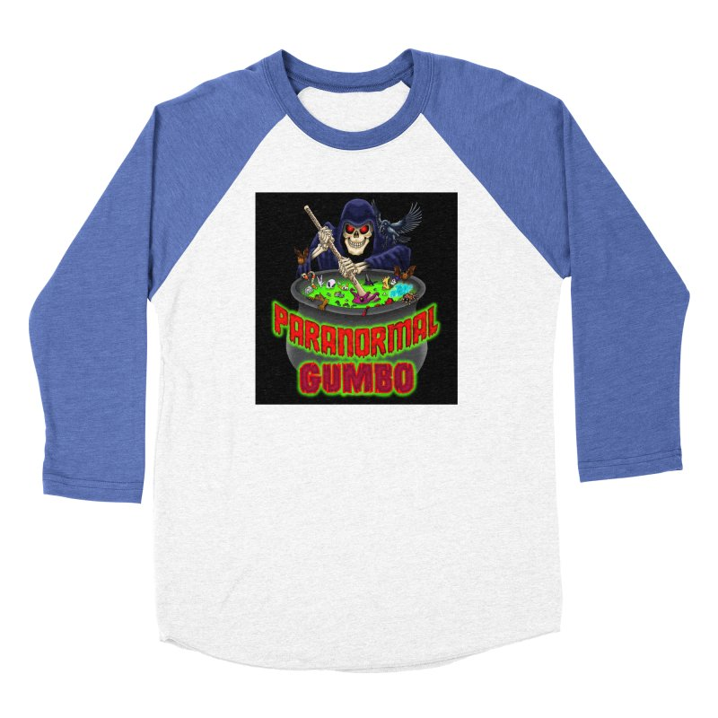 Paranormal Gumbo Grim Reaper Logo Products Men's Baseball Triblend Longsleeve T-Shirt by Paranormal Gumbo