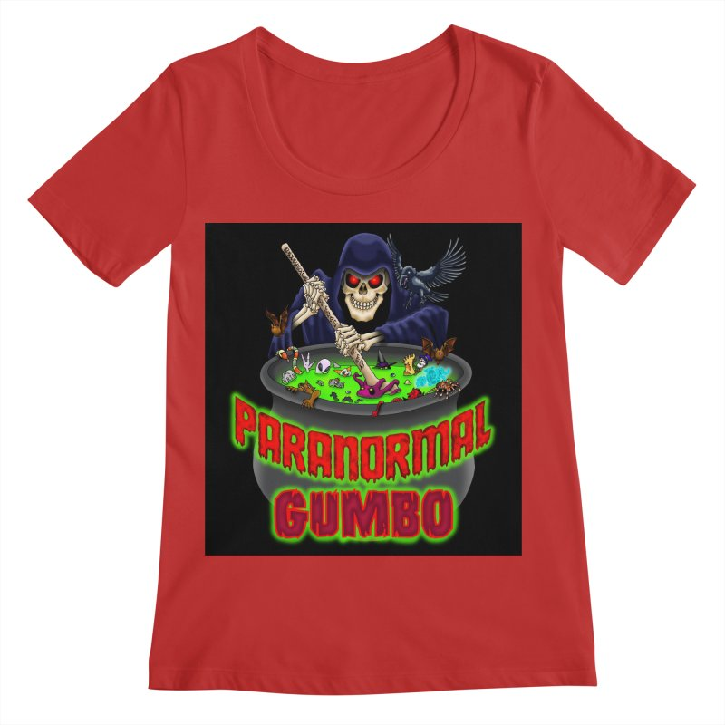 Paranormal Gumbo Grim Reaper Logo Products Women's Regular Scoop Neck by Paranormal Gumbo