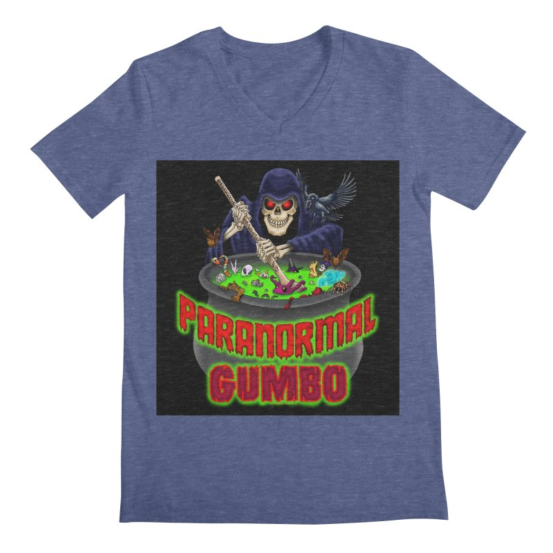 Paranormal Gumbo Grim Reaper Logo Products Men's Regular V-Neck by Paranormal Gumbo