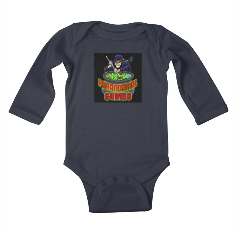 Paranormal Gumbo Grim Reaper Logo Products Kids Baby Longsleeve Bodysuit by Paranormal Gumbo