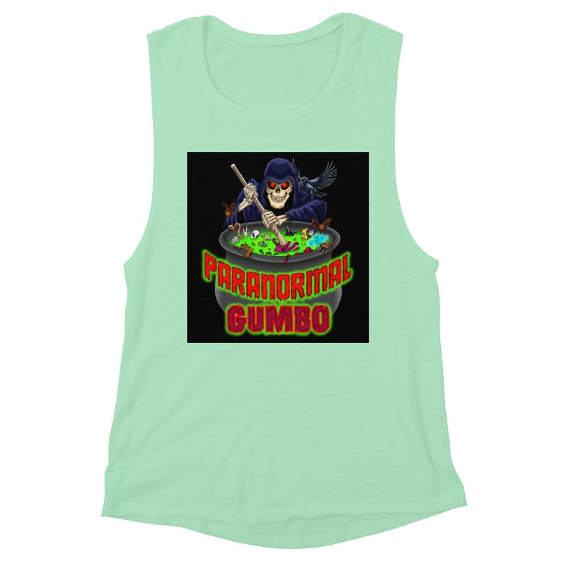Paranormal Gumbo Grim Reaper Logo Products Women's Muscle Tank by Paranormal Gumbo