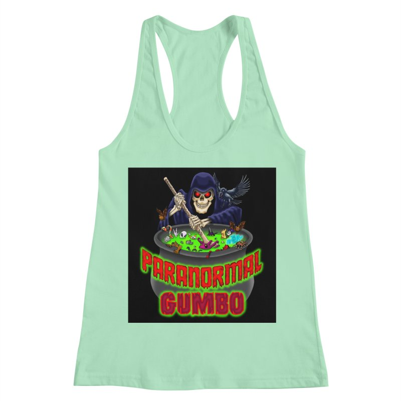 Paranormal Gumbo Grim Reaper Logo Products Women's Racerback Tank by Paranormal Gumbo