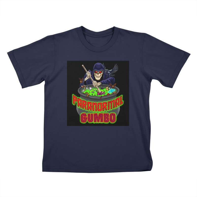 Paranormal Gumbo Grim Reaper Logo Products Kids T-Shirt by Paranormal Gumbo