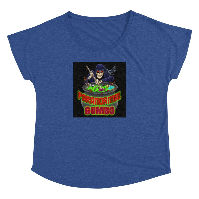 Paranormal Gumbo Grim Reaper Logo Products Women's Dolman Scoop Neck by Paranormal Gumbo