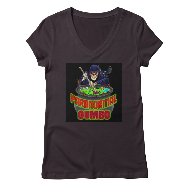Paranormal Gumbo Grim Reaper Logo Products Women's Regular V-Neck by Paranormal Gumbo