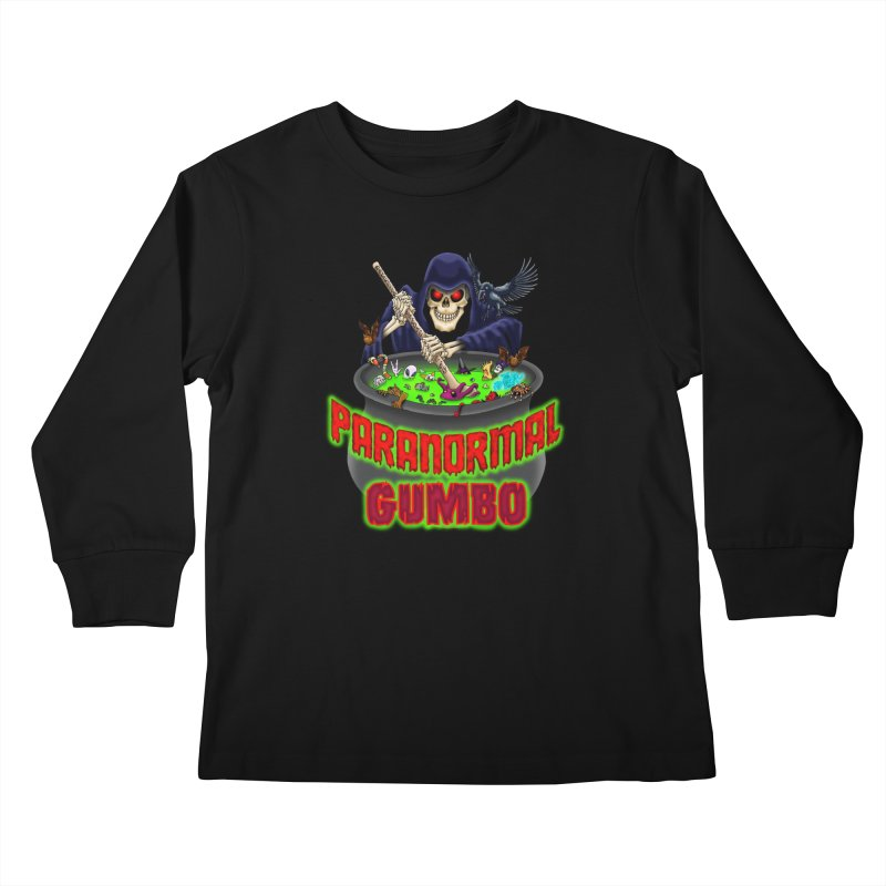 Paranormal Gumbo Grim Reaper Logo Products Kids Longsleeve T-Shirt by Paranormal Gumbo