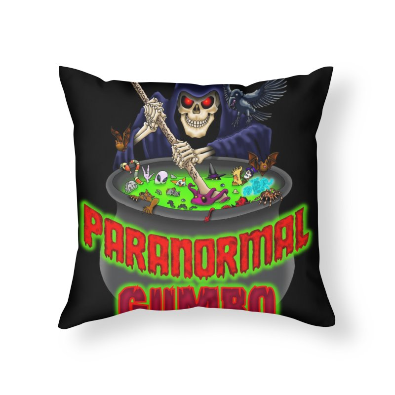 Paranormal Gumbo Grim Reaper Logo Products Home Throw Pillow by Paranormal Gumbo