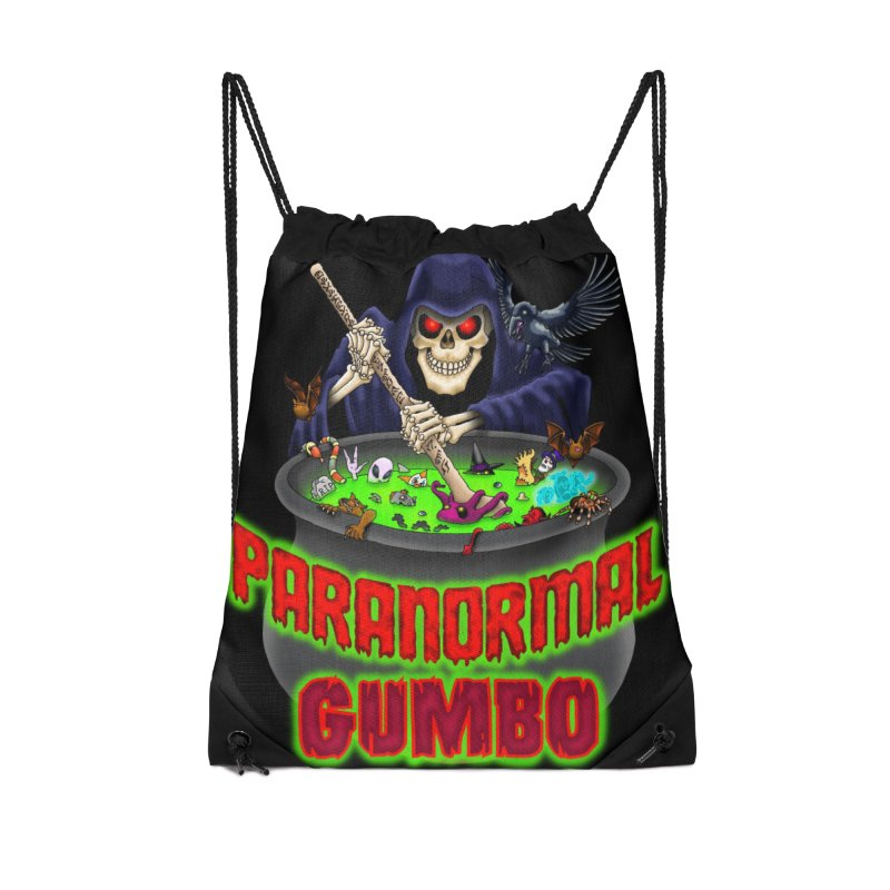 Paranormal Gumbo Grim Reaper Logo Products Accessories Drawstring Bag Bag by Paranormal Gumbo