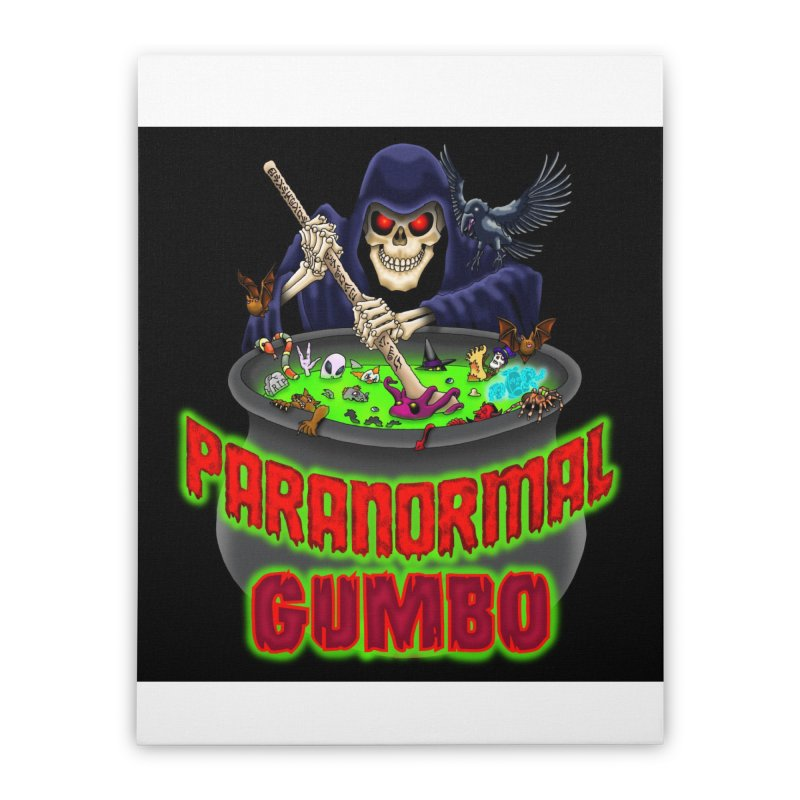 Paranormal Gumbo Grim Reaper Logo Products Home Stretched Canvas by Paranormal Gumbo