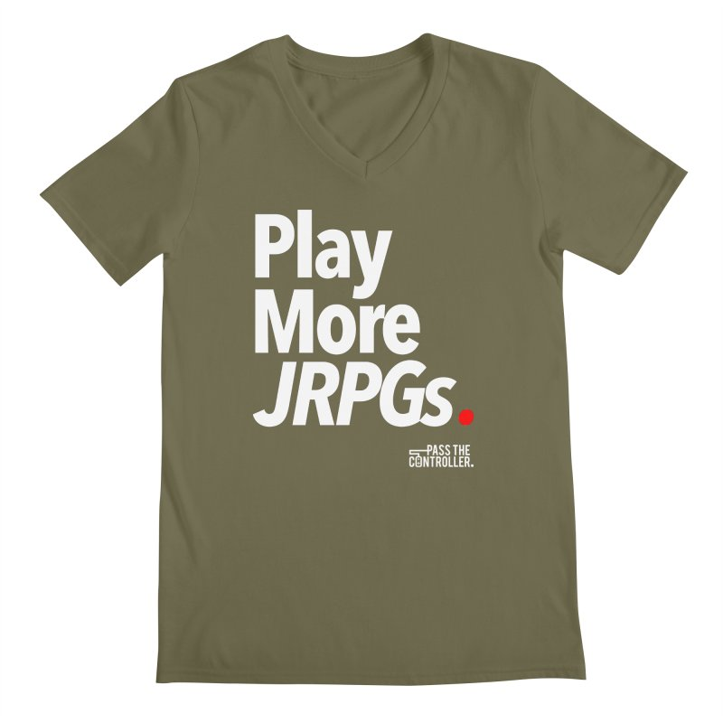 Play More JRPGs (Series 1) Men's Regular V-Neck by Official Pass The Controller Store