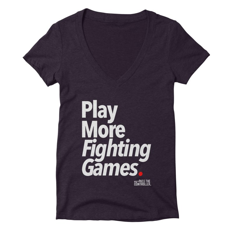 Play More Fighting Games (Series 1) Women's V-Neck by Official Pass The Controller Store
