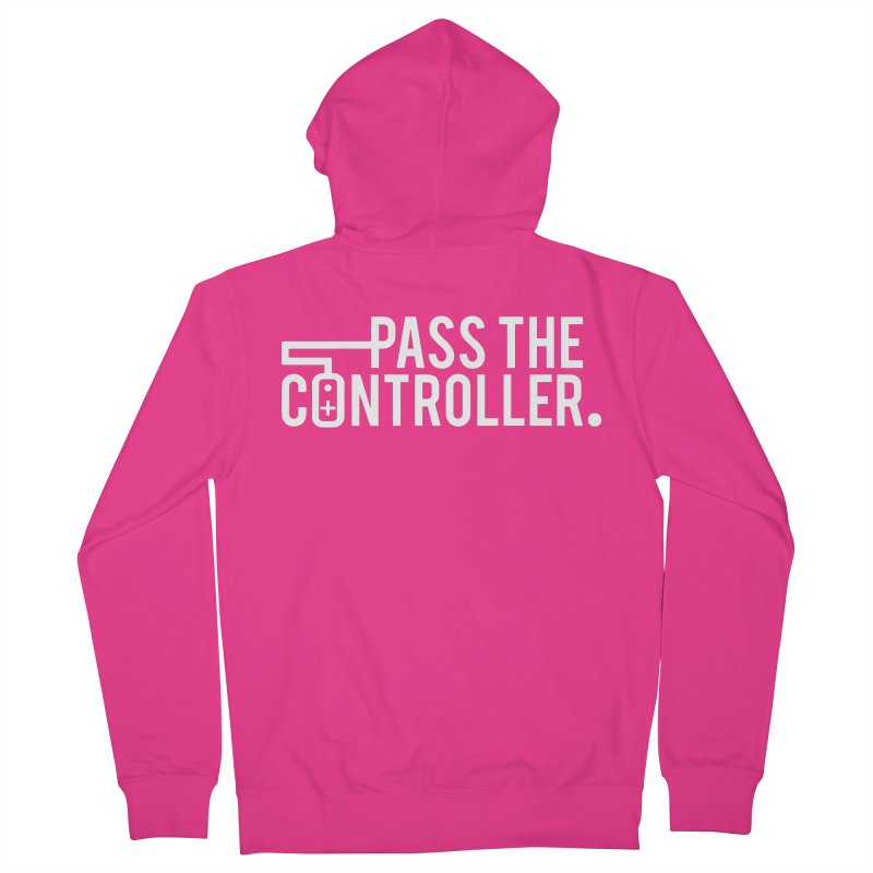 White Out Logo Men's Zip-Up Hoody by Official Pass The Controller Store