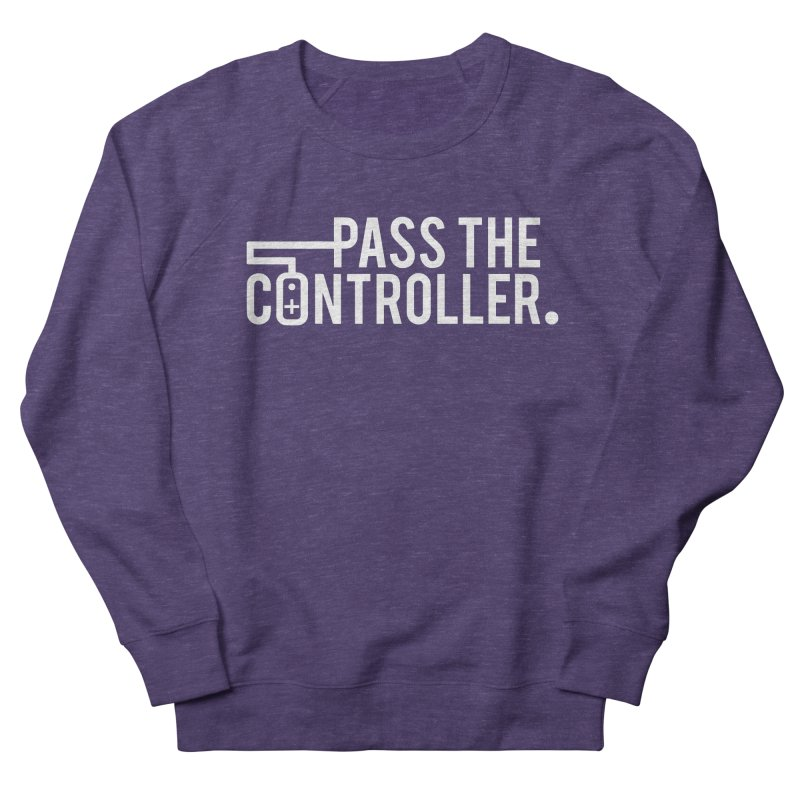 White Out Logo Men's French Terry Sweatshirt by Official Pass The Controller Store