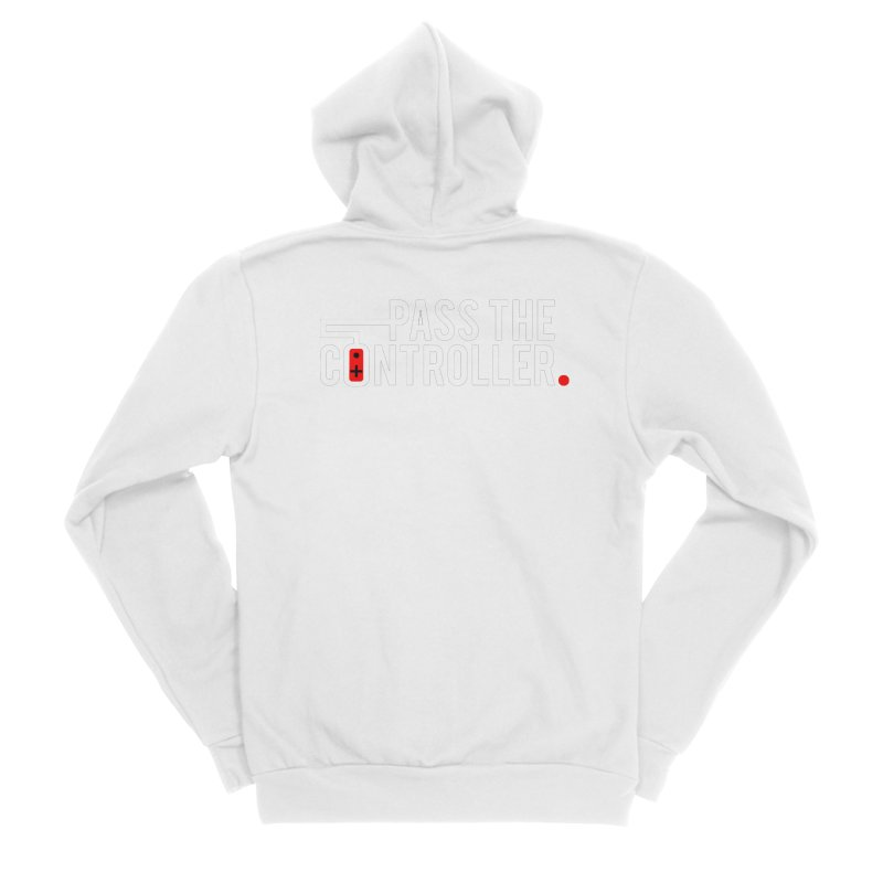 White/Black/Red Logo Men's Sponge Fleece Zip-Up Hoody by Official Pass The Controller Store