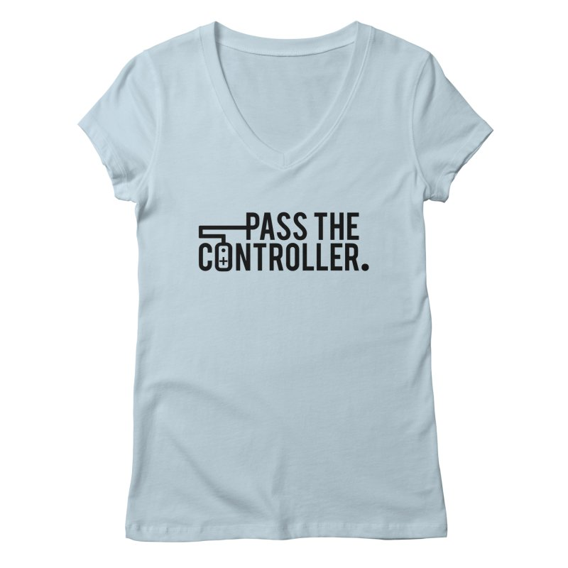 Pass The Controller (Black) Women's V-Neck by Official Pass The Controller Store