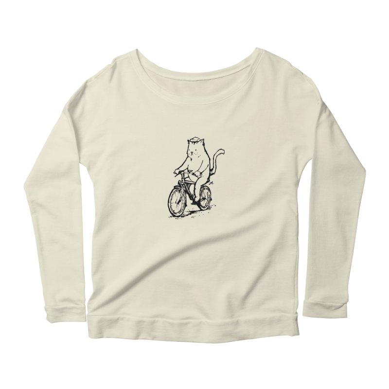 Alley Cat (black) Women's Scoop Neck Longsleeve T-Shirt by Patrick Arena Art's Artist Shop