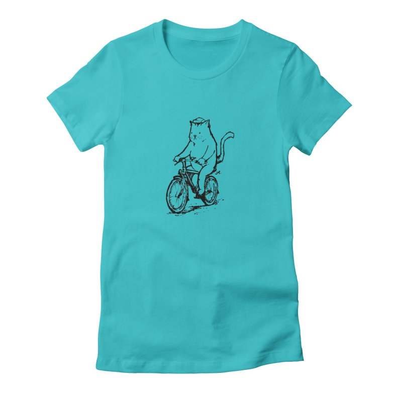 Alley Cat (black) Women's Fitted T-Shirt by Patrick Arena Art's Artist Shop