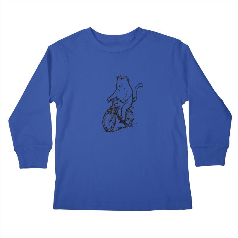 Alley Cat (black) Kids Longsleeve T-Shirt by Patrick Arena Art's Artist Shop