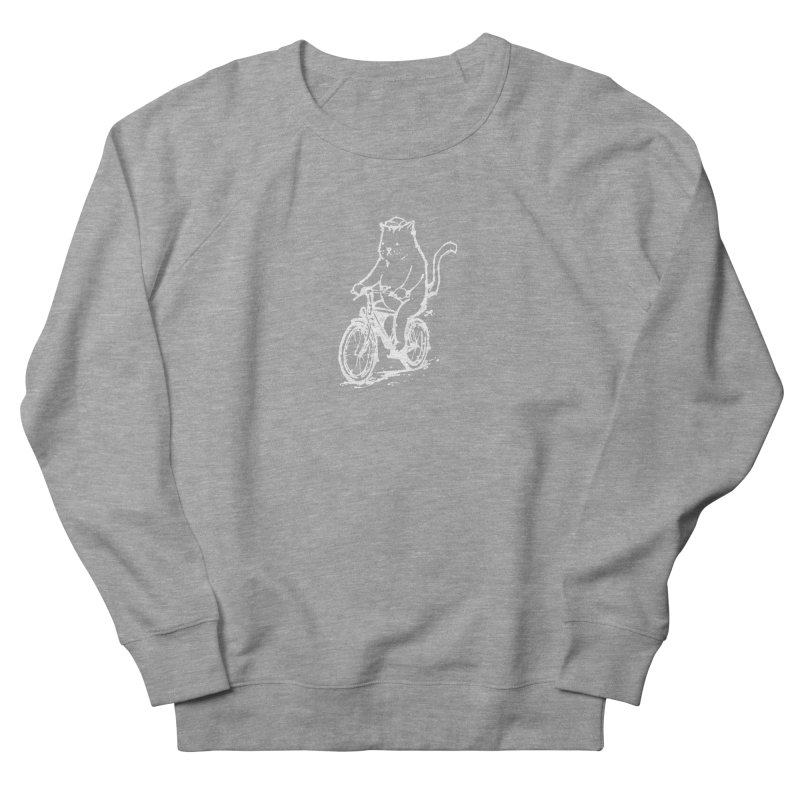 Alley Cat (white) Women's French Terry Sweatshirt by Patrick Arena Art's Artist Shop
