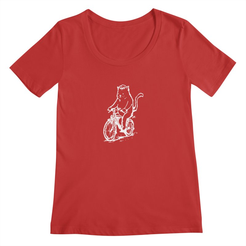 Alley Cat (white) Women's Regular Scoop Neck by Patrick Arena Art's Artist Shop