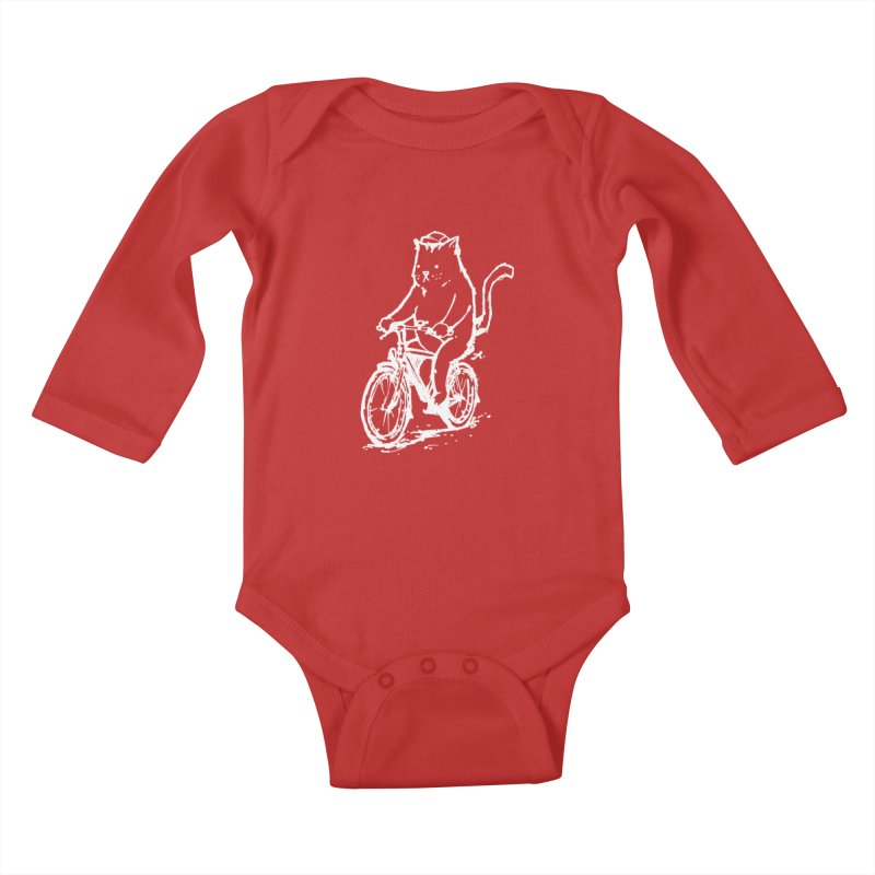 Alley Cat (white) Kids Baby Longsleeve Bodysuit by Patrick Arena Art's Artist Shop