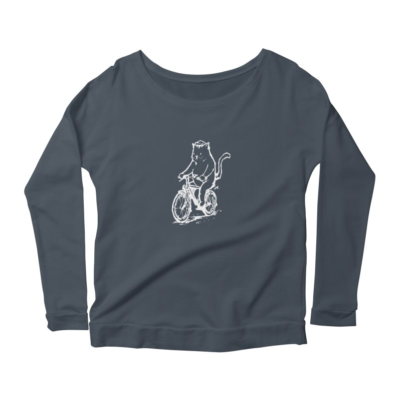 Alley Cat (white) Women's Scoop Neck Longsleeve T-Shirt by Patrick Arena Art's Artist Shop