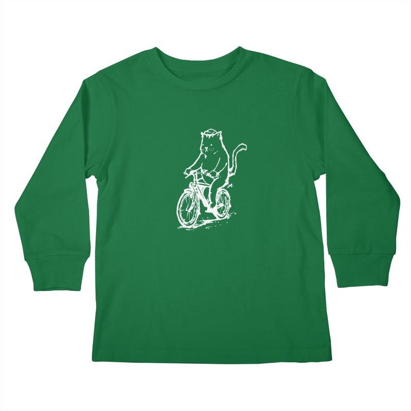 Alley Cat (white) Kids Longsleeve T-Shirt by Patrick Arena Art's Artist Shop