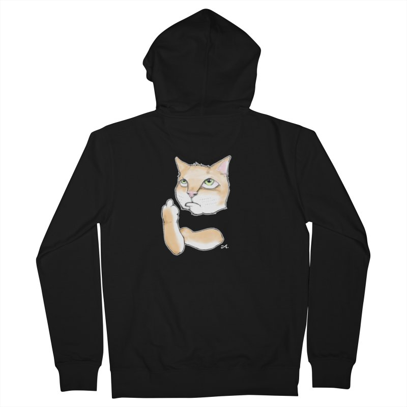 Cattitude Women's French Terry Zip-Up Hoody by Patrick Arena Art's Artist Shop