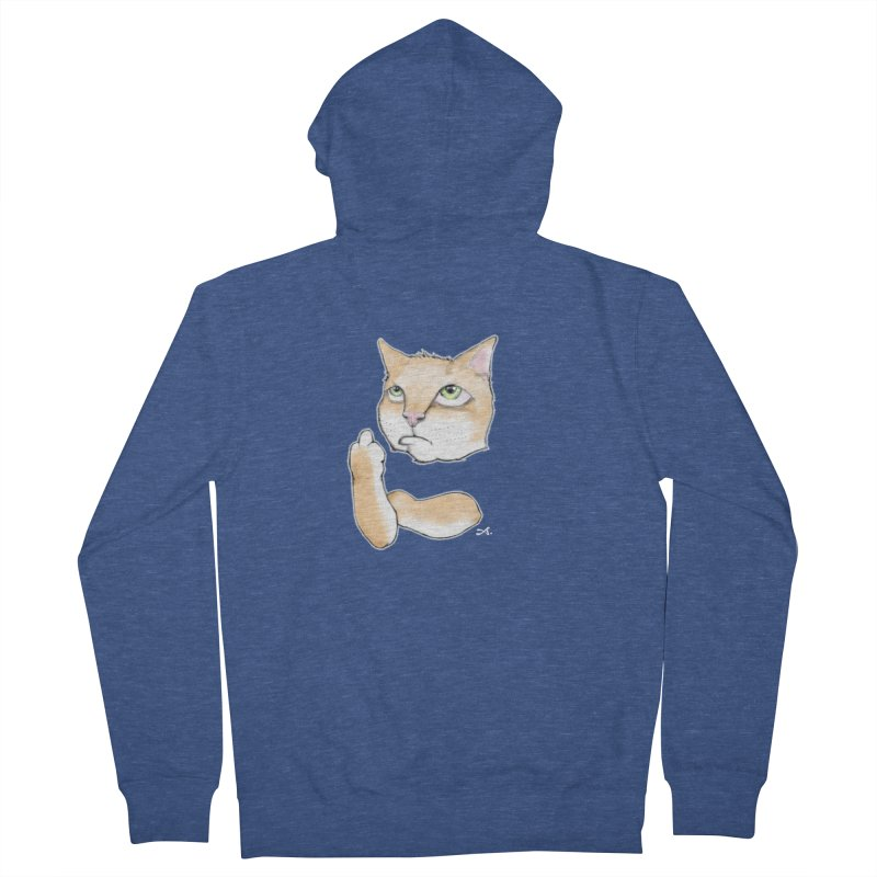 Cattitude Men's French Terry Zip-Up Hoody by Patrick Arena Art's Artist Shop