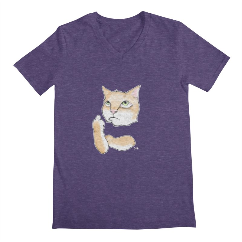 Cattitude Men's Regular V-Neck by Patrick Arena Art's Artist Shop