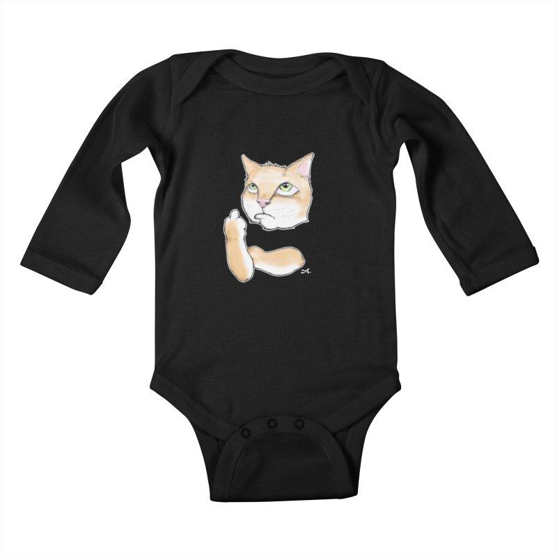 Cattitude Kids Baby Longsleeve Bodysuit by Patrick Arena Art's Artist Shop