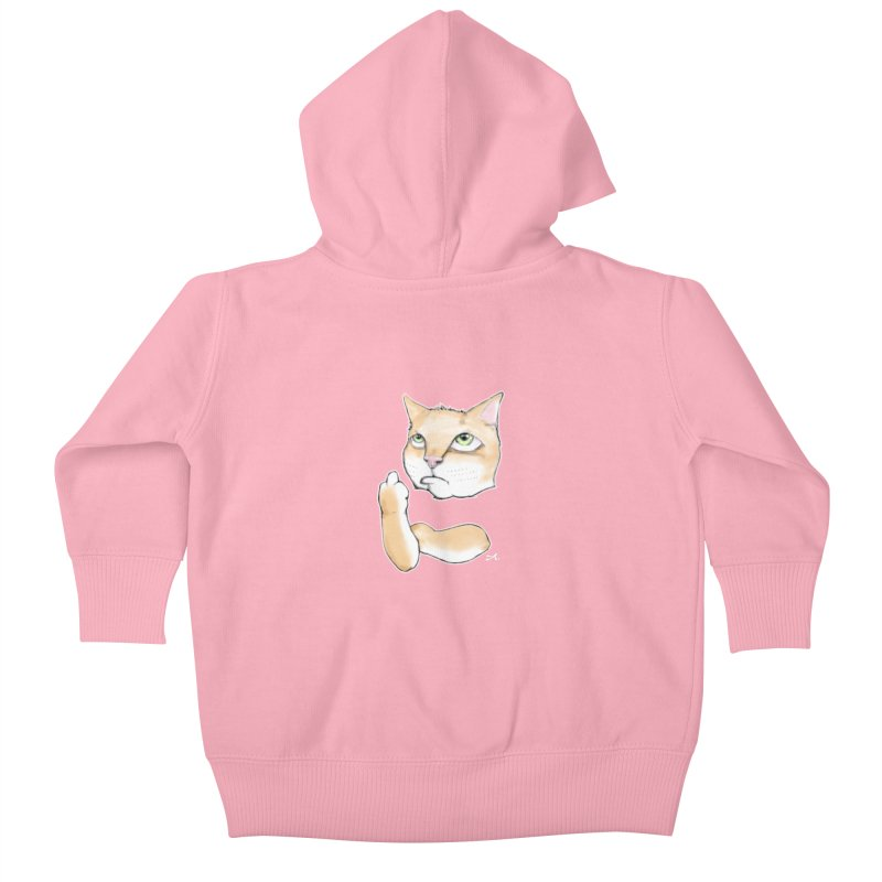 Cattitude Kids Baby Zip-Up Hoody by Patrick Arena Art's Artist Shop