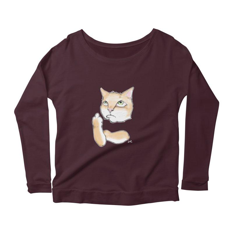 Cattitude Women's Scoop Neck Longsleeve T-Shirt by Patrick Arena Art's Artist Shop