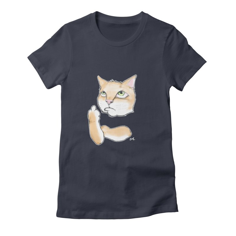 Cattitude Women's Fitted T-Shirt by Patrick Arena Art's Artist Shop
