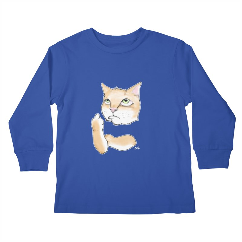Cattitude Kids Longsleeve T-Shirt by Patrick Arena Art's Artist Shop