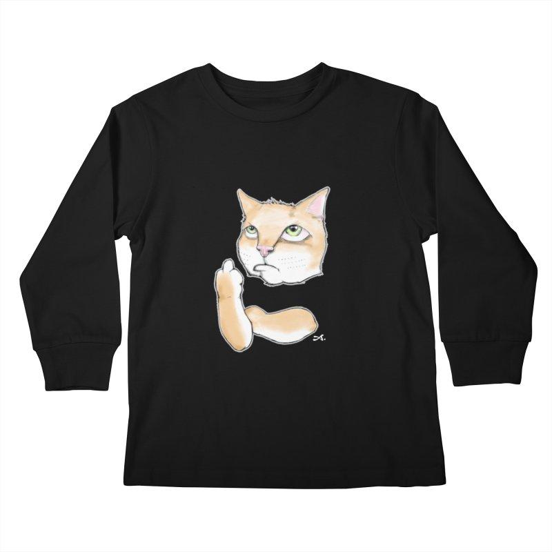 Cattitude Kids Longsleeve T-Shirt by Patrick Arena Art's Artist Shop