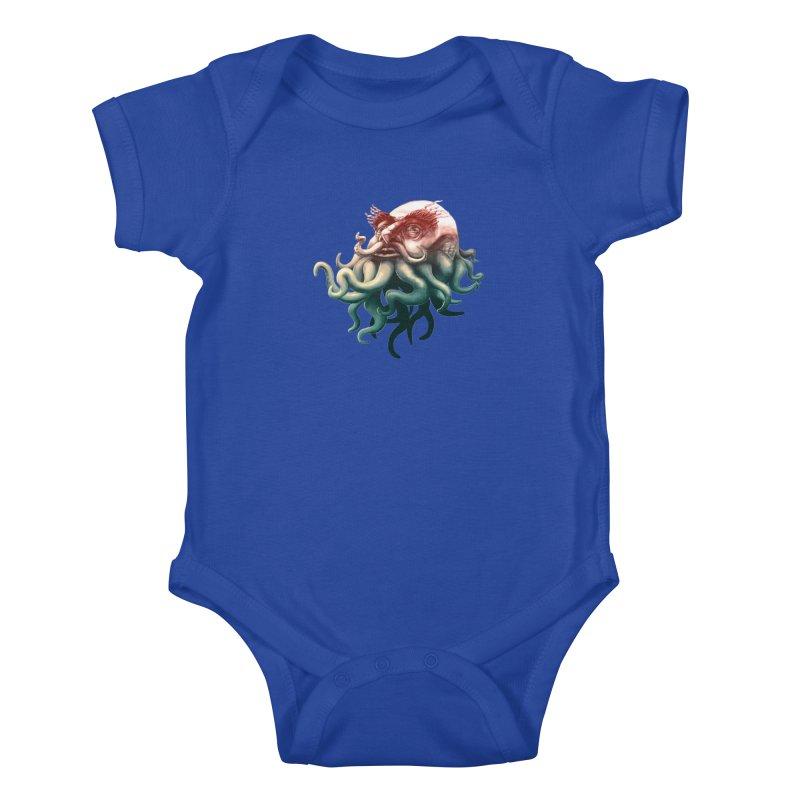 Tentacle Beard Kids Baby Bodysuit by Paul Johnson's Artist Shop