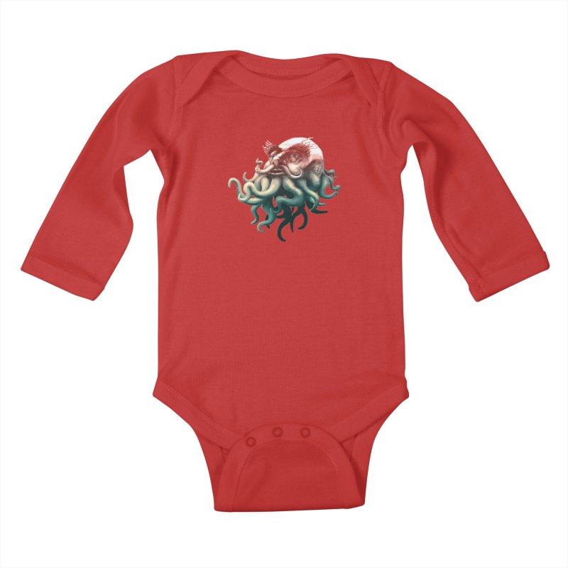 Tentacle Beard Kids Baby Longsleeve Bodysuit by Paul Johnson's Artist Shop