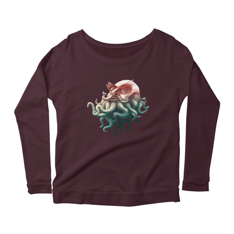 Tentacle Beard Women's Longsleeve Scoopneck  by Paul Johnson's Artist Shop