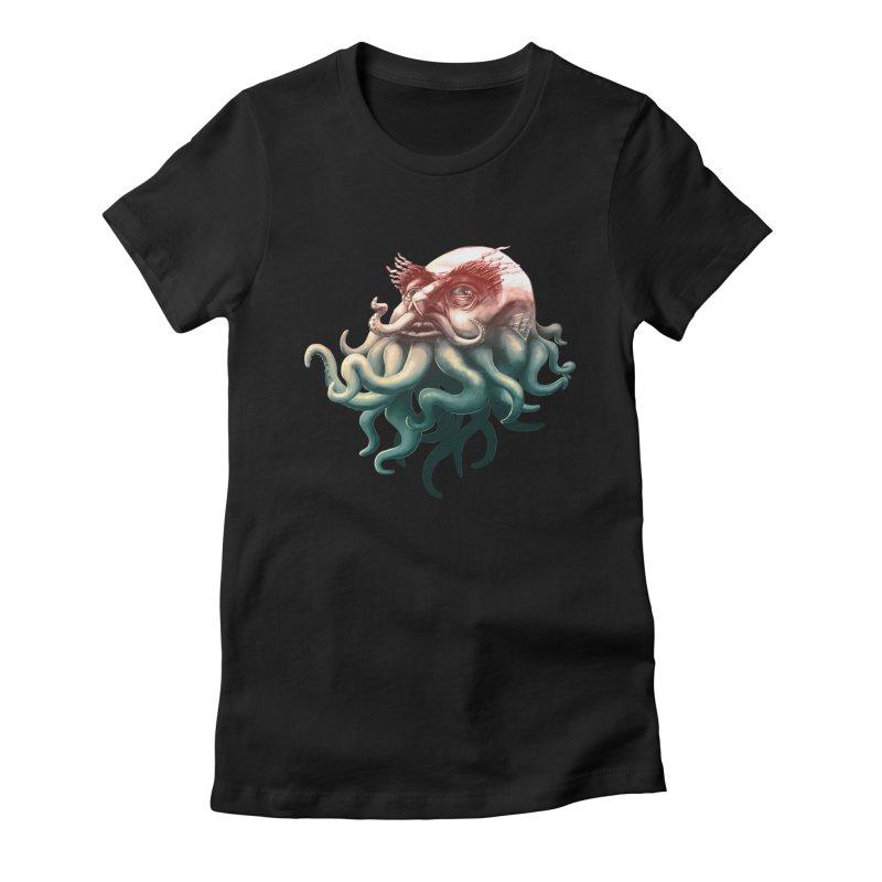 Tentacle Beard Women's Fitted T-Shirt by Paul Johnson's Artist Shop