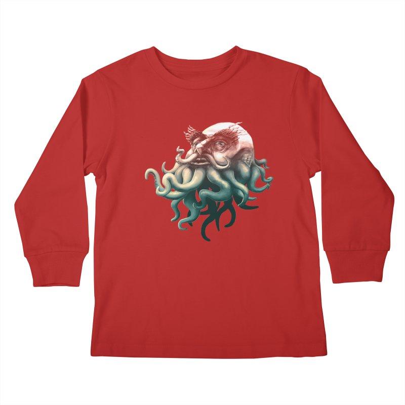 Tentacle Beard Kids Longsleeve T-Shirt by Paul Johnson's Artist Shop