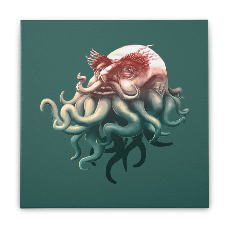 Tentacle Beard Home Stretched Canvas by Paul Johnson's Artist Shop