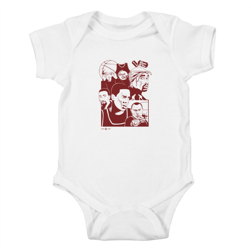 Above the Rim - Red Kids Baby Bodysuit by Payback Penguin