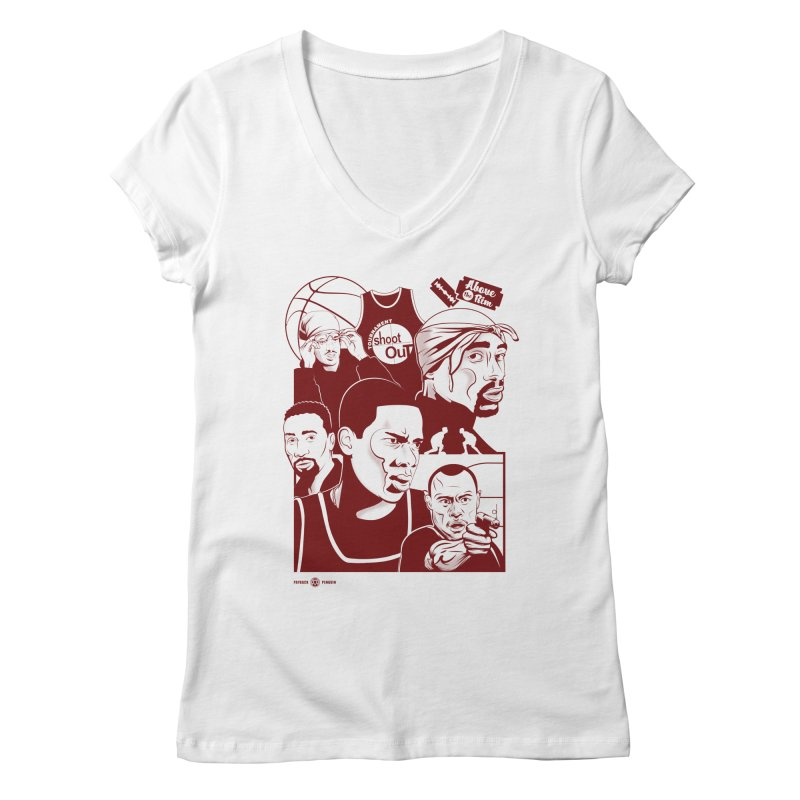 Above the Rim - Red Women's V-Neck by Payback Penguin