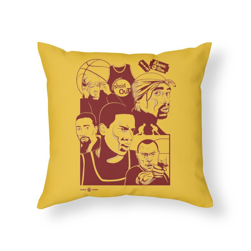Above the Rim - Red Home Throw Pillow by Payback Penguin