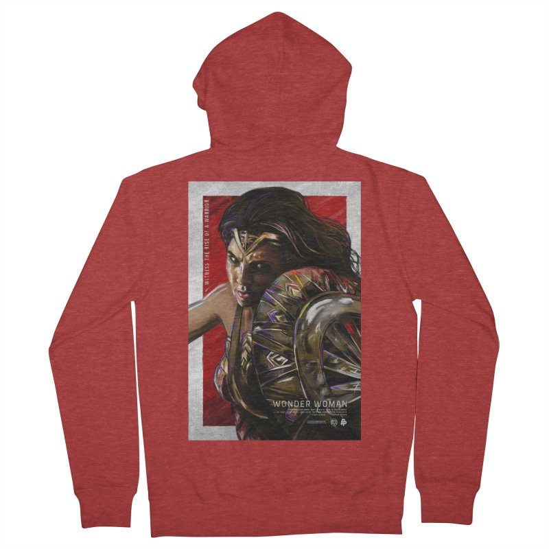 Wonder Woman (Red) Men's French Terry Zip-Up Hoody by Payback Penguin