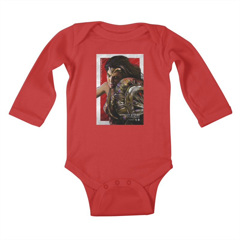 Wonder Woman (Red) Kids Baby Longsleeve Bodysuit by Payback Penguin